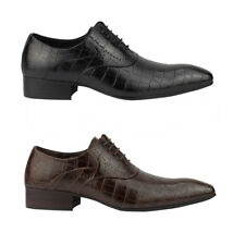 Mens Black Brown Real Leather Crocodile Skin Effect Lace up Oxford Dress Shoes