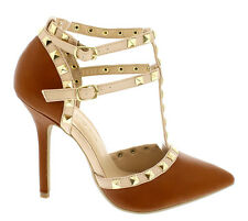 Adora-64 Whiskey Pump Pointy toe Studded Strappy Stiletto Heels Women's shoes