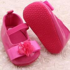 New Infant Girl Faux Leather Crib Ribbon Flower Baby Shoes Toddler Soft Sole B88