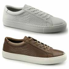 Jack & Jones GALAXY Mens Leather Reptile Casual lace Up Trainers Cognac White