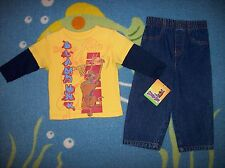 Scooby Doo Outfit 2pc Set Boys Two-Fer Denim Basketball Select Sz 12 24 Mos NWT