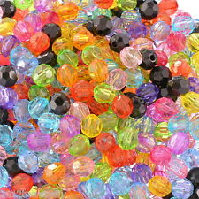 Wholesale DIY Jewelry Acrylic Spacer Beads Faceted Round Ball Mixed 6mmx6mm