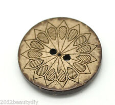 "Wholesale lots Brown Pattern 2 Holes Coconut Shell Sewing Buttons 28mm(1 1/8"")"