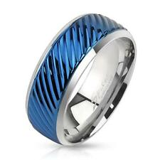 Coolbodyart Stainless Steel Ring Silver blue Diagonal Grooved Line