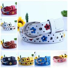 Kids Children Girl Boy Buckle Faux Leather Colorful Flower Waistband Belt  B35