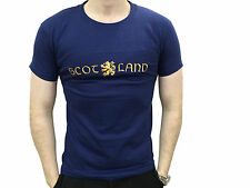 Mens Scottish Navy Lion Rampant Scotland Embroidered T Shirt Brand New
