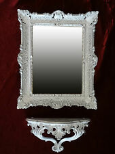 Wall MIRROR + Storage Console as SET mirror ANTIQUE BAROQUE WHITE SILVER 56x46