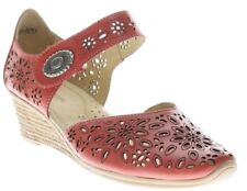 Spring Step Women's Nougat Casual Leather Mary Jane Wedge Sandals Red