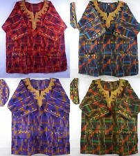 Men's Kente Print Dashiki Shirt Traditional Clothing African Ethnic Top One Size