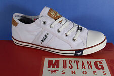 Mustang Canvas Lace up Sneakers Low Shoes Trainers white, Rubber sole NEW