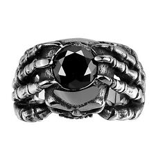 Mens Stainless Steel Ring Gothic Skull Hand Claw Vintage Biker Band Black Silver