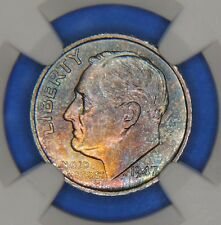 1947 S Silver Roosevelt Dime NGC MS66 * Star GEM Uncirculated Rainbow Toning