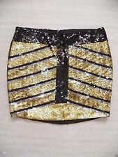 NWT bebe black gold sequin striped contrast dress mini sexy skirt party XS S M L