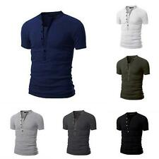 Fashion Mens Slim Fit Stylish Shirt Short Sleeve Casual T-shirts Tee US