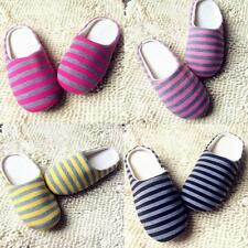 Women Men's Slippers Indoor Striped Winter Warm Soft Plush Home Anti-slip Shoes