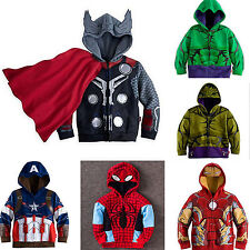 Kids Toddlers Boys Superhero Hooded Jacket Coats Zip Hoodies Jumper Tops Outwear
