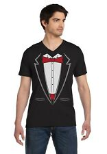 Printed Suit & Tie Tuxedo Red Bow Tie Bachelor Party V-Neck T-Shirt Gift Idea