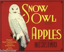 SNOW OWL APPLE CRATE LABEL YAKIMA WASHINGTON RED 1940S ORIGINAL ADVERTISING