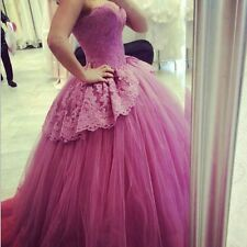 Puffy Prom Dresses Sweetheart Appliqued  Sweetheart Long Formal Lace Party Gowns