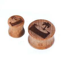 1 pair 00g-20mm Vacation Hawaii Wooden Ear Plugs Gauges Earrings Lobe Piercing