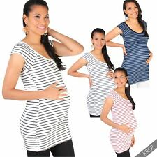 Maternity Womens Striped Long Casual T Shirt Vest Top Pregnancy Summer Blouse