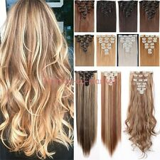 US Real 8PC 18 Clips Clip In Hair Extensions Hairpiece Hair Extentions Human PF8