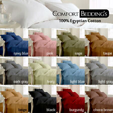 EGYPTIAN COTTON 1200-TC UK SINGLE SIZE SOLID COLOR BEDDING SHEET SET FAST & FREE