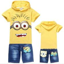 Kids Suits Boys Girls Despicable Me Minions Hoodies Top + Short Jeans Childs Set