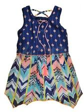 Pogo Club Girls Navy Blue Printed Chiffon Dress with Necklace Size 4 5/6 6X $44