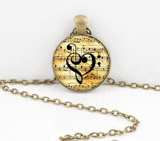 Music Heart Music Notes Bass Treble Clef Pendant Necklace Key Chain
