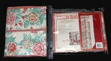 "VTG Quilted Vinyl Floral Roses Hydrangeas Clothes Full Zipper Bag 54"" or 42"" NIP"