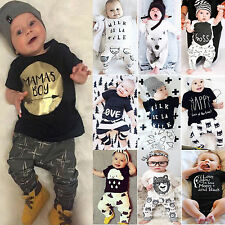 Various 2Pcs Toddler Baby Girls Boys Outfits T-Shirt Tops Pants Clothes Suit Set