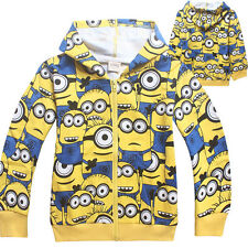 Kids Boys Girls Hoodies Minions Despicable Me Zipper Coat Casual Cartoon Clothes