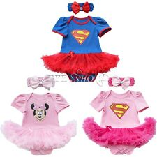 Newborn Infant Baby Girl Superman Romper Bodysuit Dress Clothes Outfits+Headband