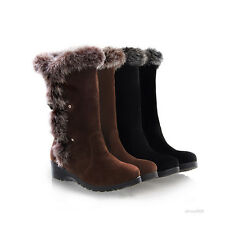 Womens Wedge Low Heel Hairy Collar Buckle Mid-Calf Boots Warm Shoes Size B393