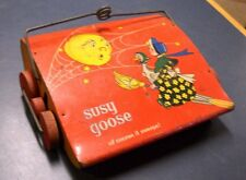 VINTAGE SUSY GOOSE OF COURSE IT SWEEPS TIN TOY BY KIDDE BRUSH & TOY CO