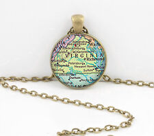 Virginia Vintage Map Pendant Necklace or Key Ring