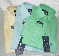 Stafford Mens Dress Shirt easy care broadcloth travel size 15.5 16.5 17 NEW