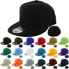 Adult Plain Fitted Cap Flat Rimmed Bill Hat Hip Hop Urban Retro Solid Sports