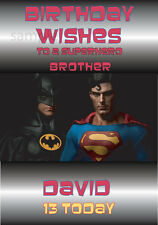 Personalised Batman v Superman inspired Birthday card for Son, Grandson A5