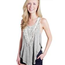 Fashion Womens T Shirt Summer Sleeveless Casual Lace Vest Tank Shirt Blouse Tops