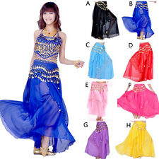 Belly Dance Costume Set Skirt + Hip scarf Wrap with Golden Coins 8 colors
