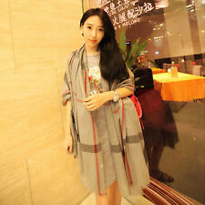 Women Winter Women Lady Neck Warm Voile Checked Shawl Scarf Wrap Plaid Gift