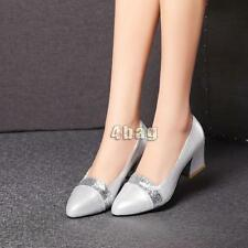 Chic Women Pointy Toe Chunky Heels Shoes Bling Bling Office Silp On Loafers size