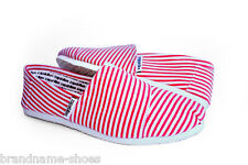 RED STRIPE CASUAL SLIP ON CANVAS FLATS MEN'S MENS ZAPATILLAS LIGHT COMFY SHOES