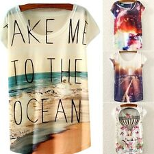 New Women Loose Short Sleeve Casual Tops Tee Graphic Printed T-Shirt Blouse