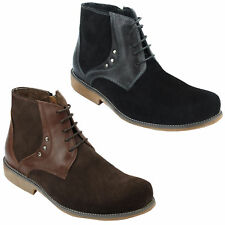 New Mens Suede Real Leather Chukka Ankle Boots in Black Brown Lace & Zip Shoes