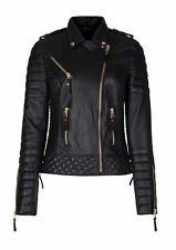 Black Quilted Biker Motorcycle Women Leather Jacket Slim Fit Size XS S M L XL
