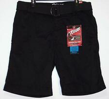 NWT Men's Plugg Belted Casual Shorts Size 30 34  Black  100% Cotton