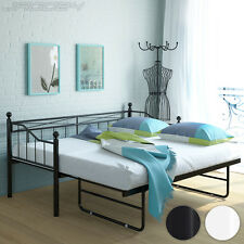 Metal Day Bed Frame with Trundle Guest Bedstead French Style Bedroom 201/85 cm